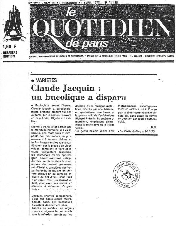 Claude Jacquin - Le quotidien de paris -15 et 16-avril 1978