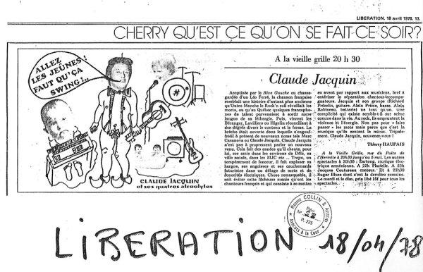 Claude Jacquin - Libération  - 18 avril 1978