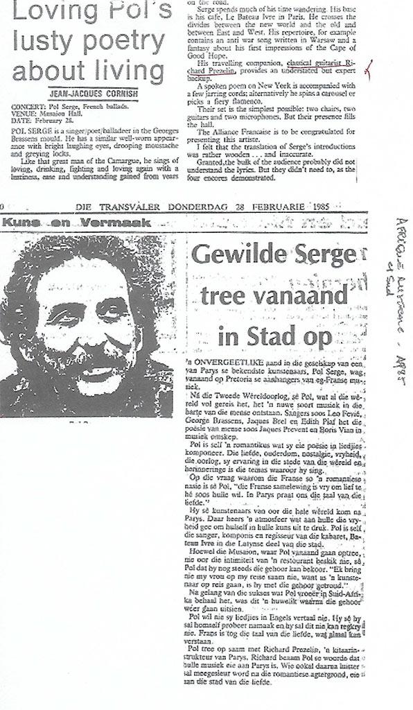 Die Transvaler - 23-février-1985 - Afrique-du-Sud