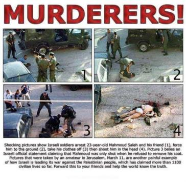 Images of the execution of Mahmoud Saleh, ordered by the amnesiac, Mickey Levy. You can see that when Salah is murdered he has no suicide vest. He is naked except for his underwear. There is no bomb. The next picture shows his dead body.