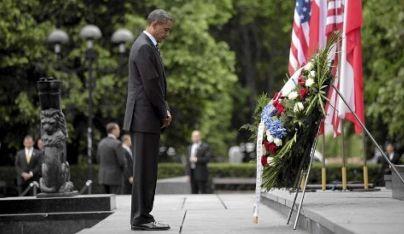 obama warsaw ghetto memorial