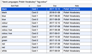 Pulling out lists of words by tag in Anki