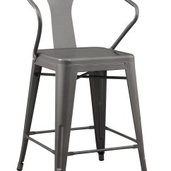 Metal Restaurant Chairs Fancy Office Chair 24 Inch Solid Steel Stacking Industrial Silver Tabouret