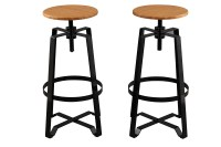 BTExpert Solid Steel Stacking Industrial Black Tabouret