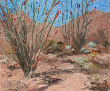 Consider the Ocotillo, 10x12 oil on Birch panel