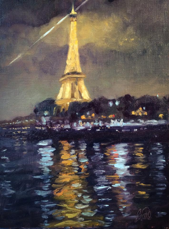 "Along the Seine 12x16"""