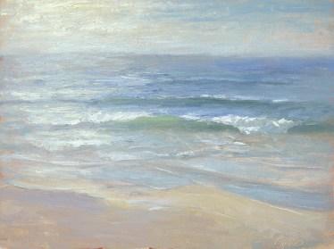 """""""Horizon 3 — Carmel Beach"""" 12x16"""" Oil on Canvas Panel"""