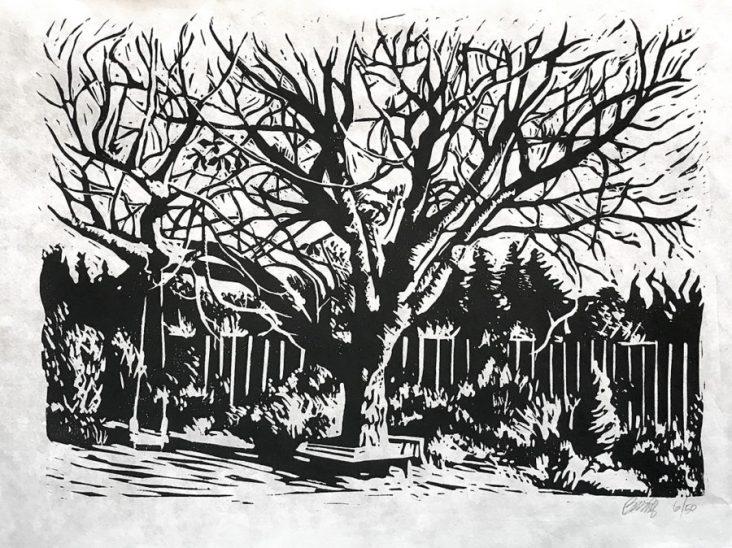 """Petersgate Chestnut"" 10x14"" Linoleum Block Print"