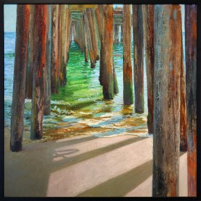 """""""Pilings in the tide"""" 48x48"""" Oil on Canvas"""