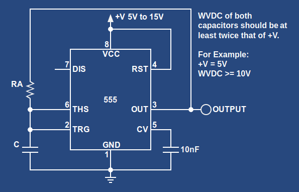 555 Oscillator With 50 Duty Cycle