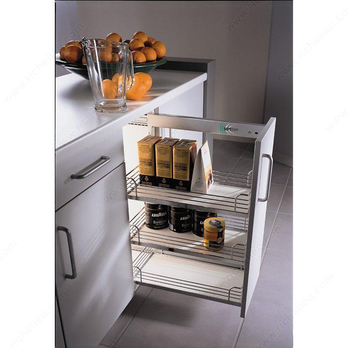 metal cabinets kitchen utensil sets base richelieu hardware chrome and gray basket sliding system for