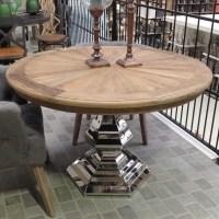 Tisch rund Massivholz, Esstisch Silber Tischfuß