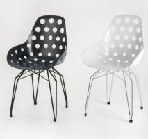 Design Stuhl Sitzschale schwarz, verchromtes Gestell ...