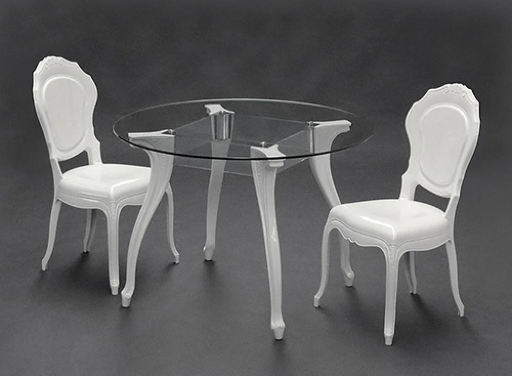 Tisch rund Glas Esstisch rund Barock wei Tisch Tischplatte Glas Durchmesser 110 cm