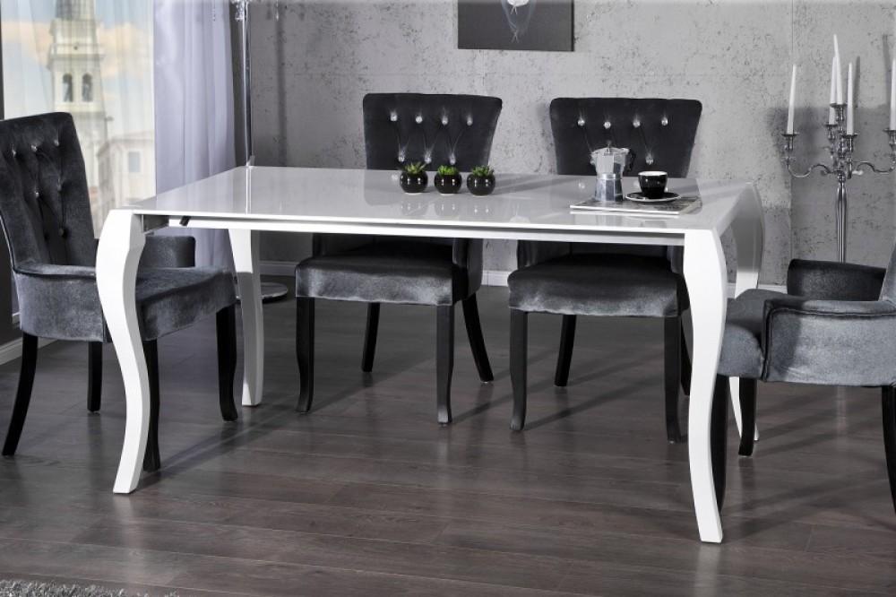 Esstisch Barock ausziehbar Tisch aus Schichtholz wei