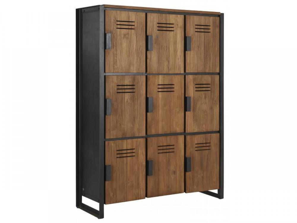 Schrank im Industriedesign Kleiderschrank mit neun Tren aus Metall und Holz Breite 120 cm