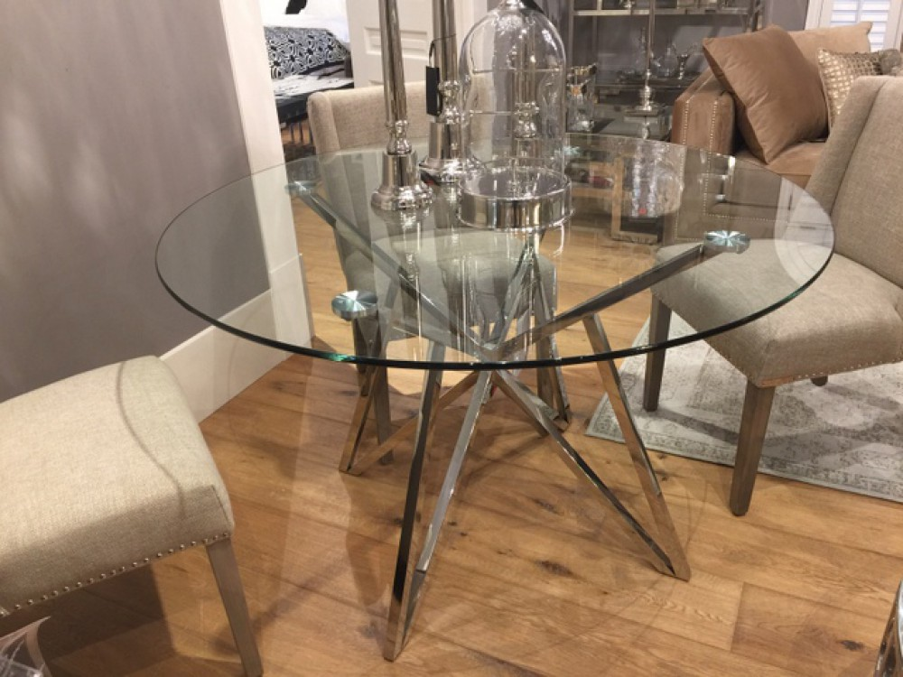 Runder Tisch Glas Metall Glastisch rund verchromt