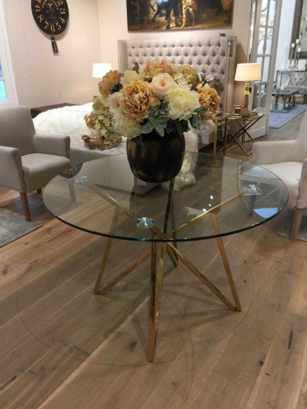 Runder Tisch Glas Metall Glastisch rund Gold Esstisch