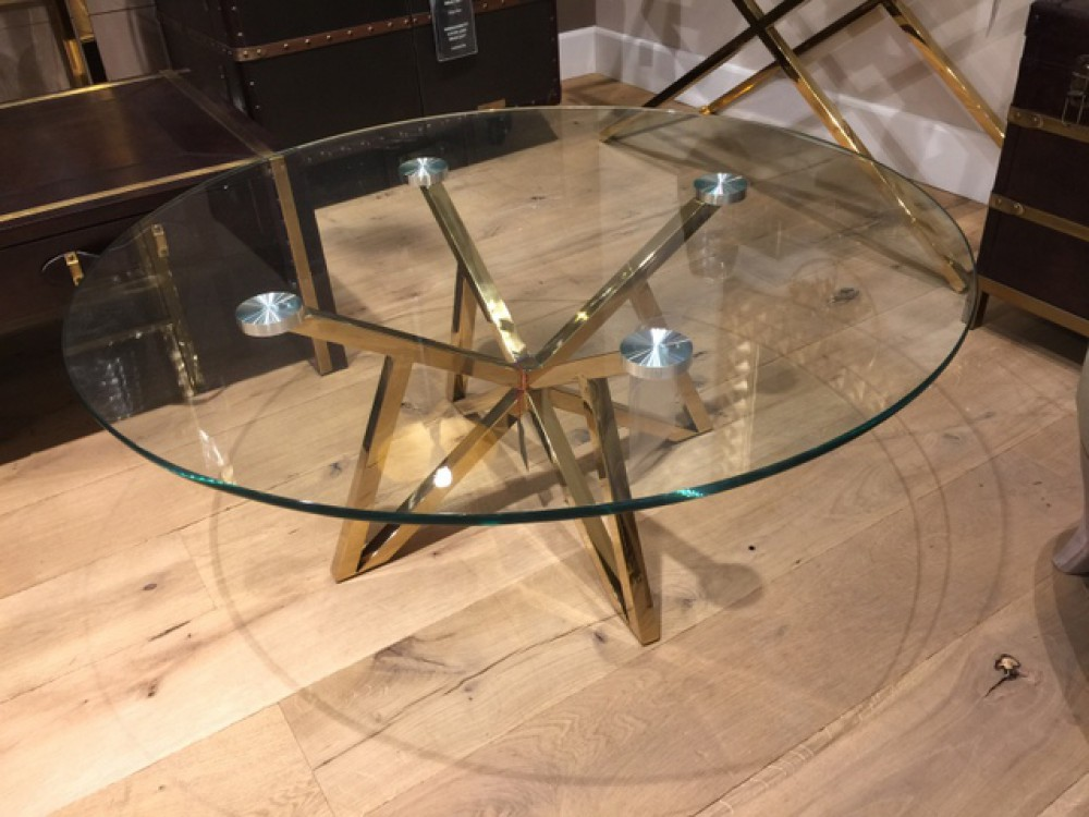 Runder Couchtisch Glas Metall Glastisch rund Gold Tisch rund Durchmesser 100 cm