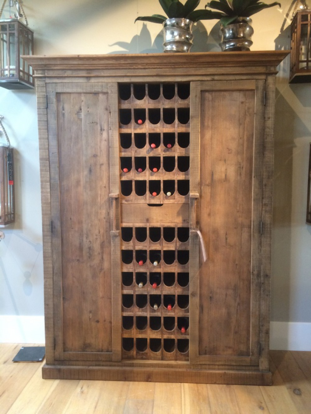 Weinschrank Massivholz Weinregal Holz im Landhausstil