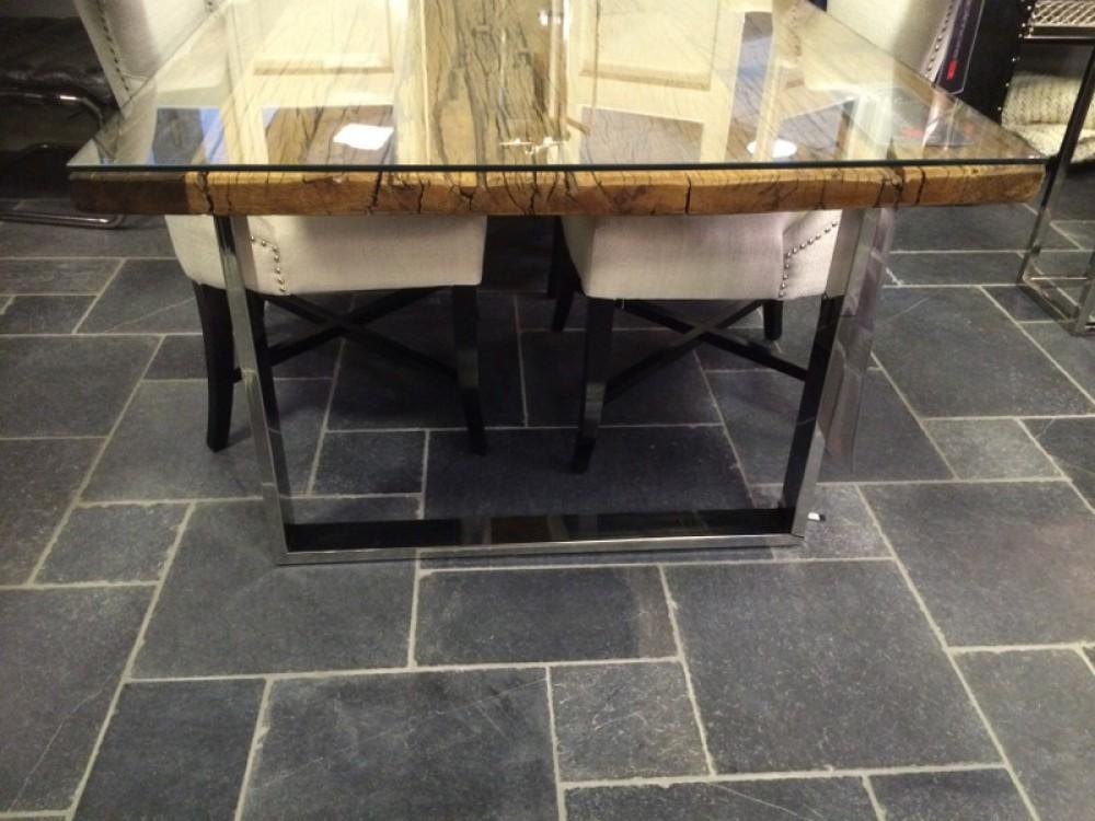 Esstisch Glasplatte recyceltes Holz Tisch Lnge 220 cm