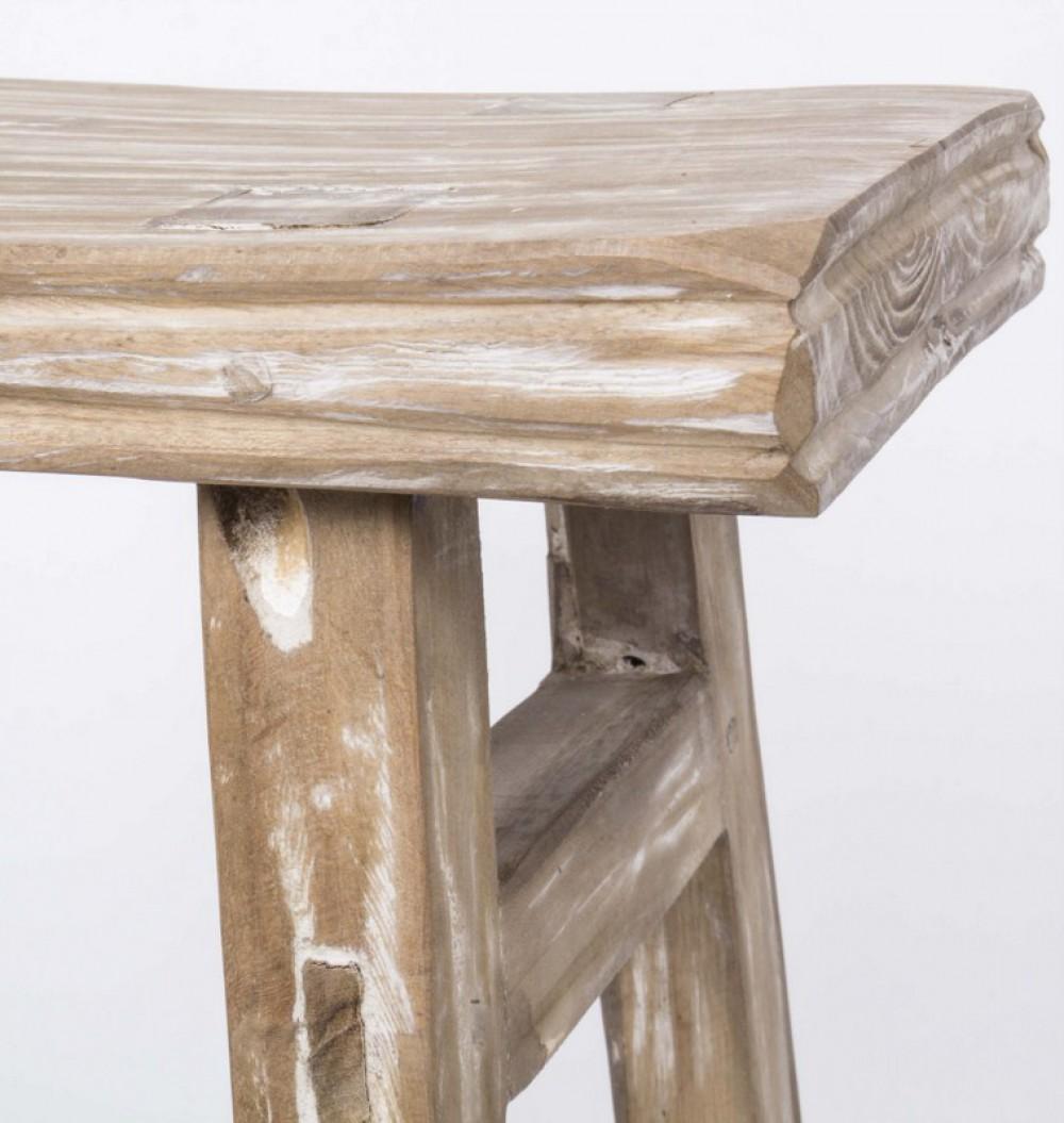 Hocker  Beistelltisch aus Holz massiv Farbe graubraun