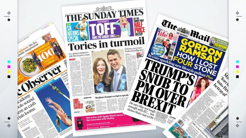 The Front Pages Of The UK's Sunday Newspapers Jan 28th 2018