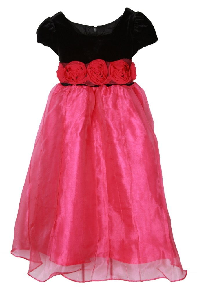 Pink Dress with Black Velvet Top and Waist Roses
