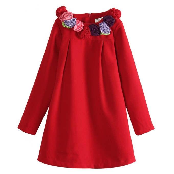 Smock Dress with Rosette Collar