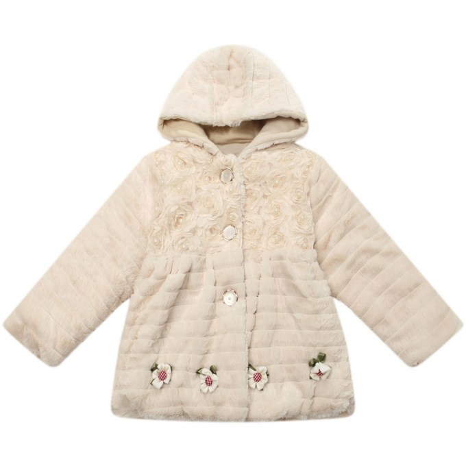 Faux Fur Hooded Jacket with Flower and Pearl Accents