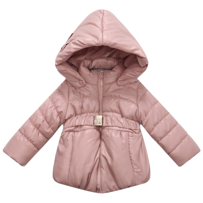 Hooded Padded Jacket Buckle Waistband