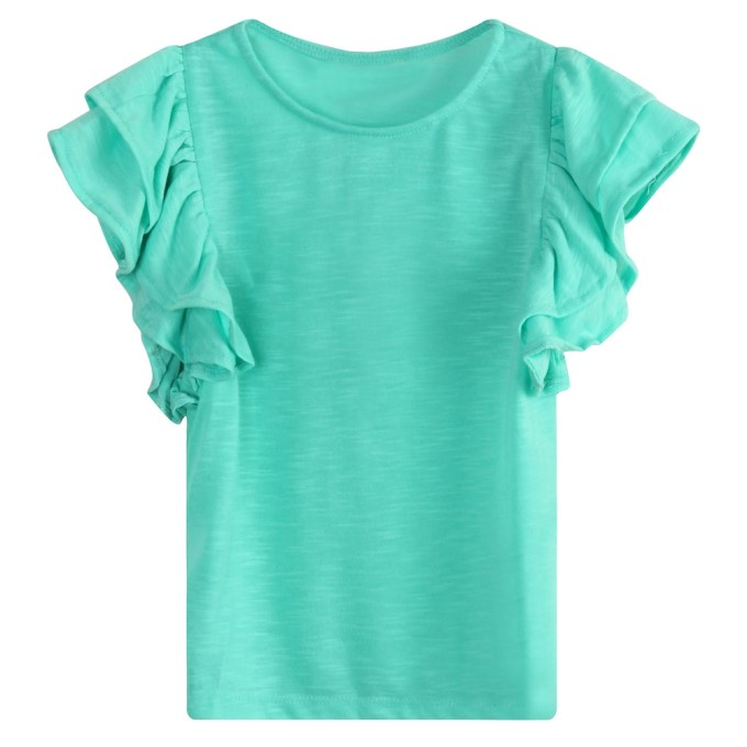 Cotton Knit T-shirt with Ruffle Sleeves