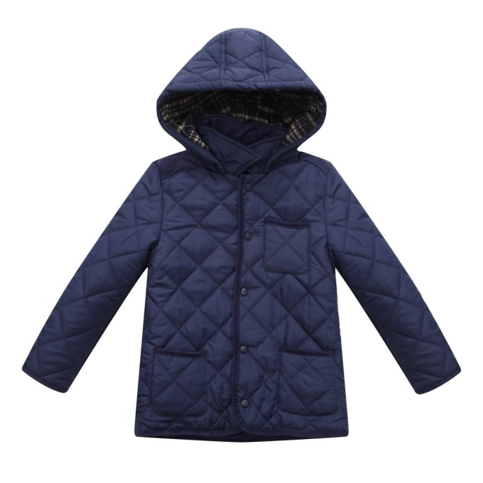 quilting padded jacket with corduroy fabric details