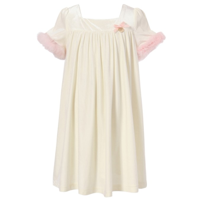Velour Dress Party Dress with Puffed Sleeves