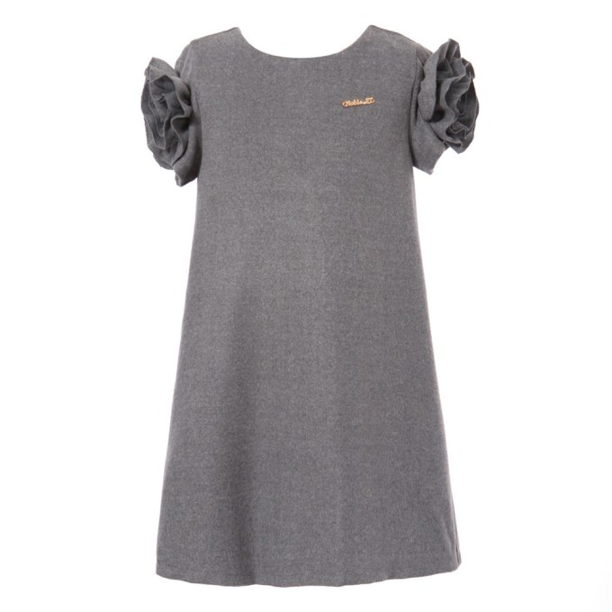 Dress with Flower and Metal Label