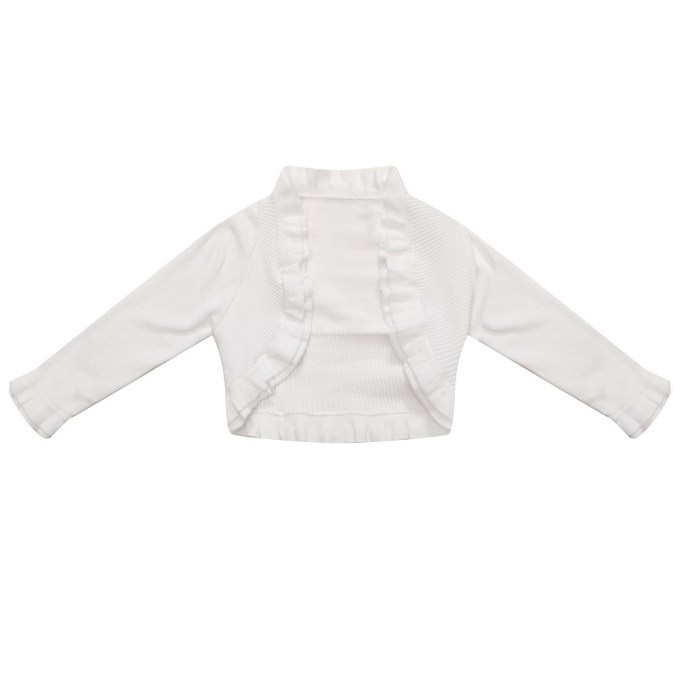 Cardigan Sweater with Ruffled Collar and Bottom