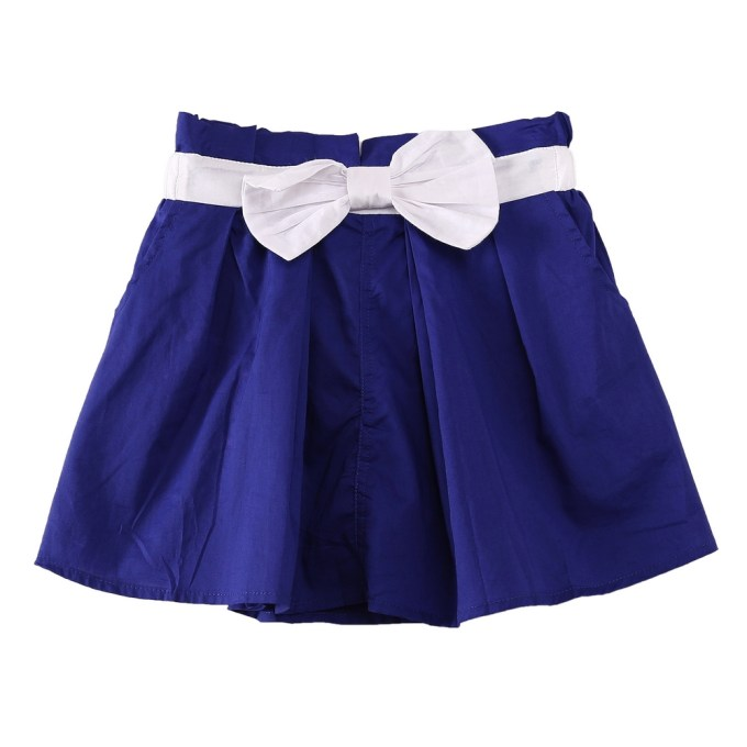 Blue Cotton Shorts with Contrasting Bow