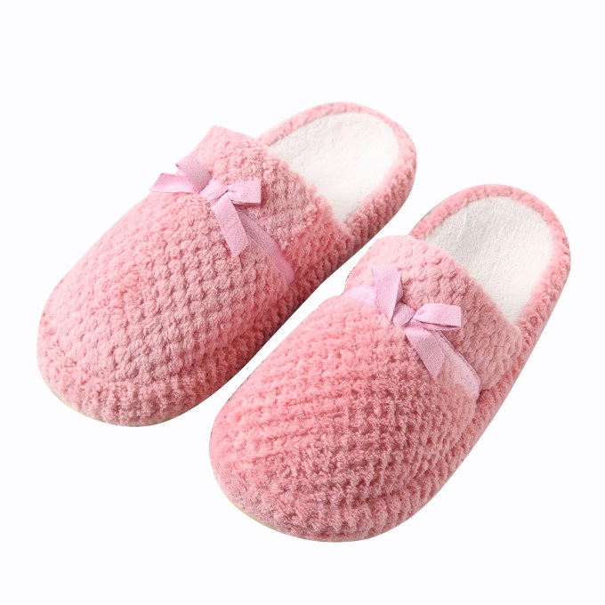 Gridding Coral With Lovely Bowknot Slippers