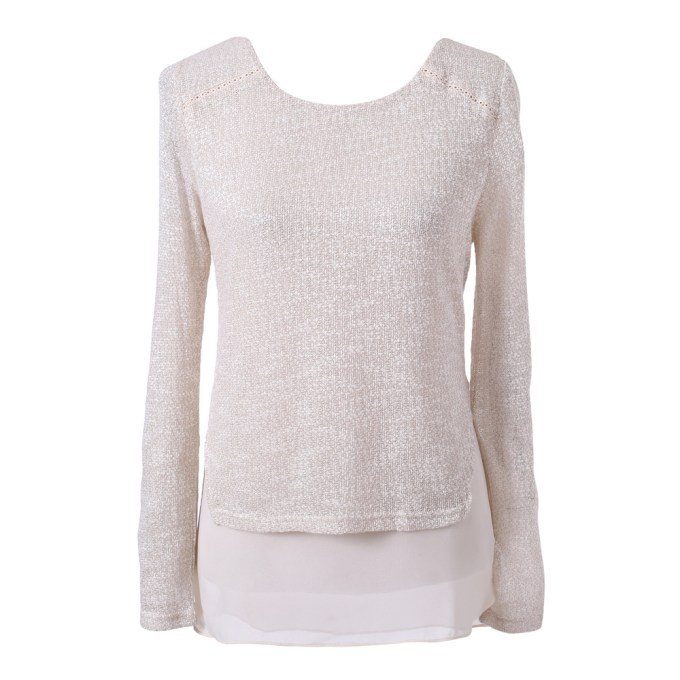 Pullover Sweater with Chiffon Bottom Uni Size for S-M