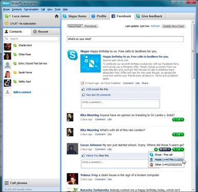 skype and fb integration