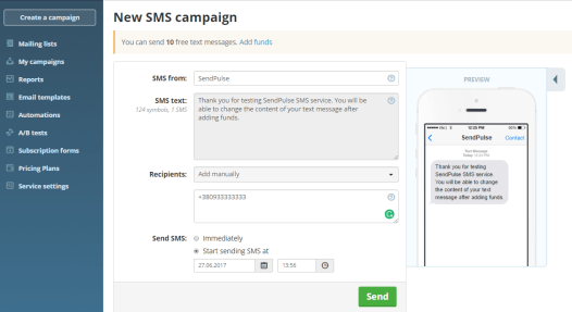 Send free sms to anyone online