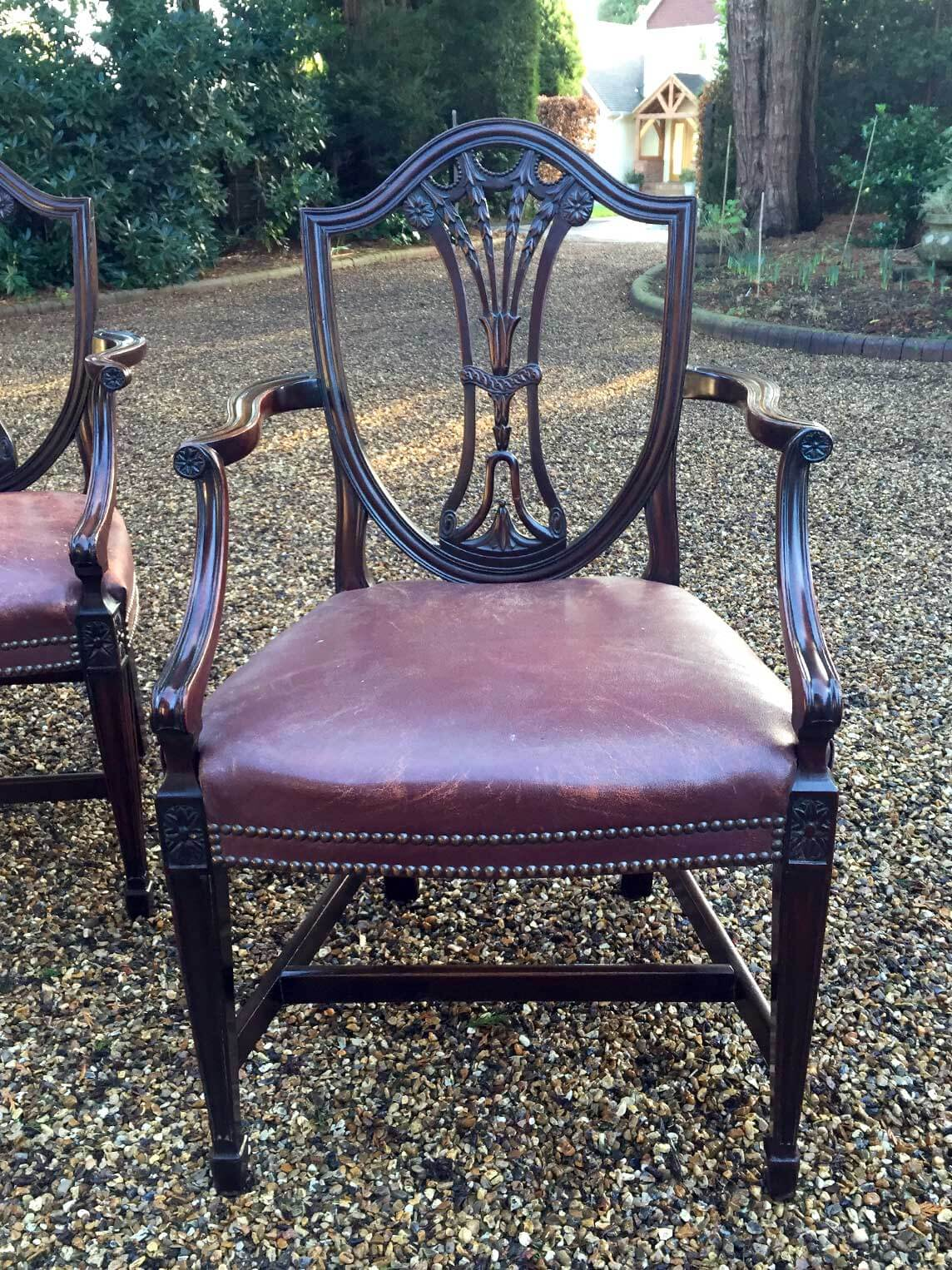 leather tub chair massaging pad mahogany shield back carver chairs - richmond hill antiques