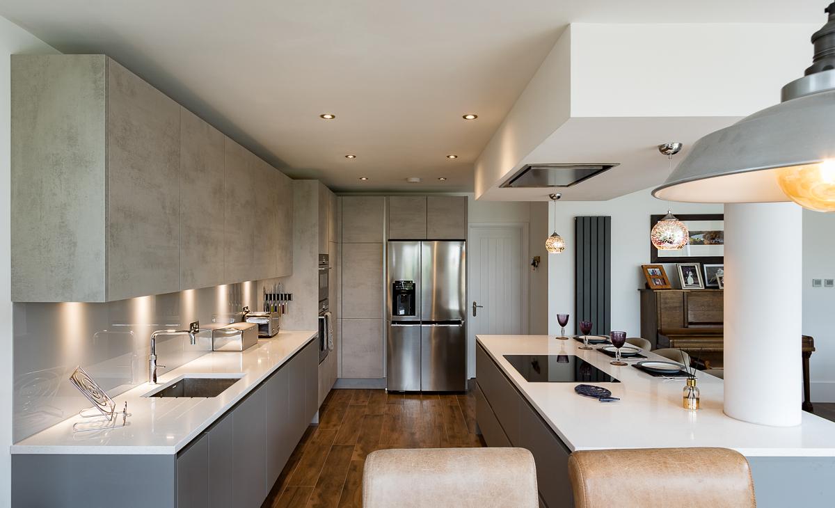 Nobilia Handleless Concrete Kitchen Twickenham  Richmond