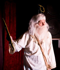"Rich Potter, as the Creator of the Universe, has a last-minute deadline frenzy, in ""God: The One Man Show"" at Greenbelt Arts Center, Feb 19-28, 2016 www.GodTheOneManShow.com"