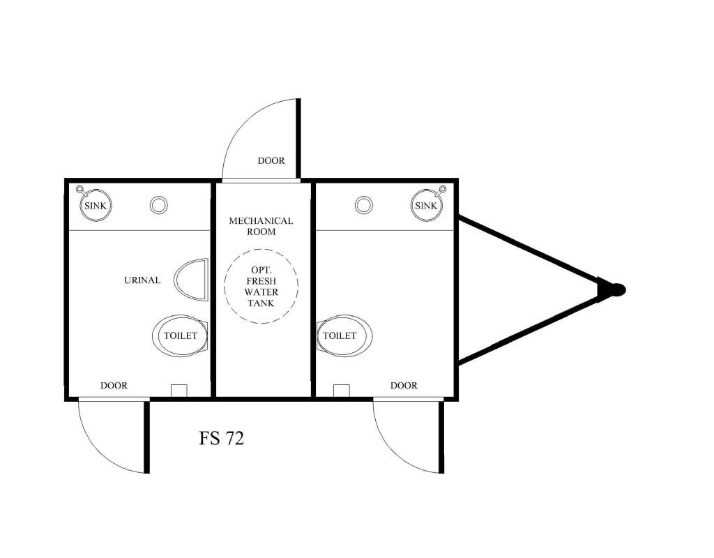 2 STATION PORTABLE RESTROOM TRAILER FLOOR PLAN