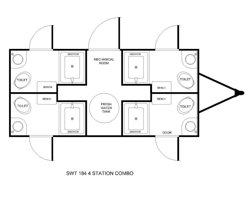 four station shower combo floor plan