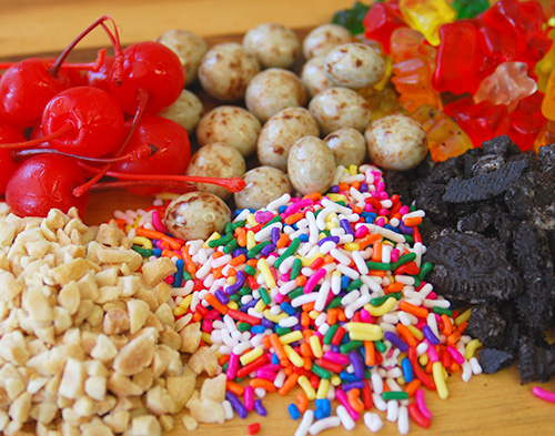 Rich's Ice Cream Catering Toppings: peanuts, oreos, sprinkles, cherries, gummy bears, espresso beans