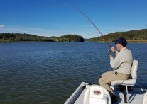Yasunori battling his first Champlain bass