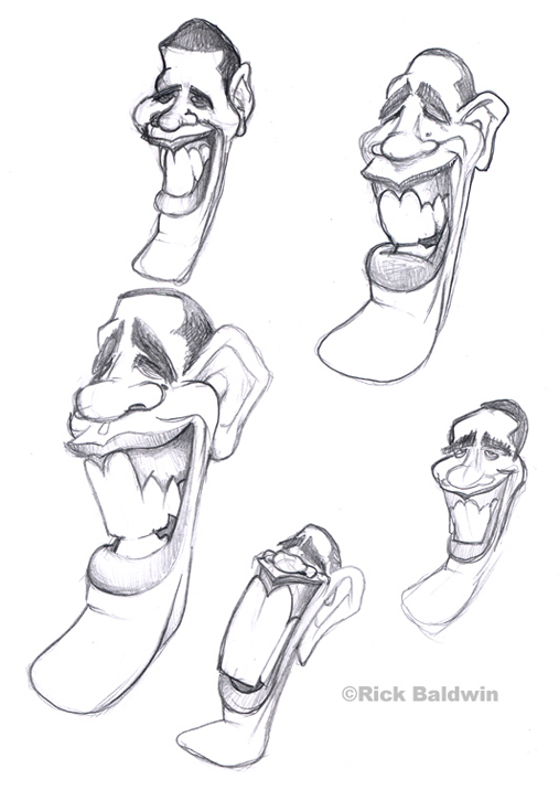 Obama caricature sketches