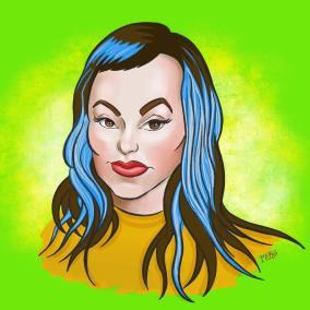 Sarah X Dylan caricature by Rick Baldwin